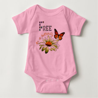 """Pink bodystocking baby, """"Free ace has butterfly"""", Baby Bodysuit"""