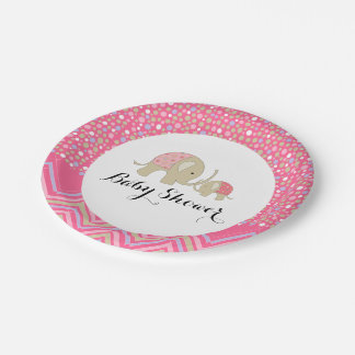 Pink Bohemian Elephant and Chevron Baby Shower Paper Plate