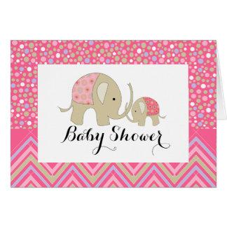 Pink Bohemian Elephant & Chevron Baby Shower Card