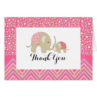 Pink Bohemian Elephant & Chevron Baby Thank You Card