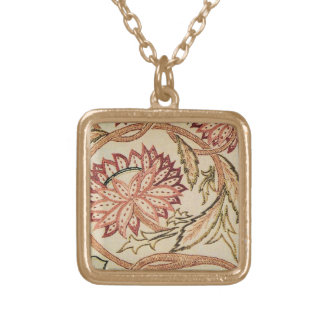 Pink Bohemian Flowers Square Pendant Necklace