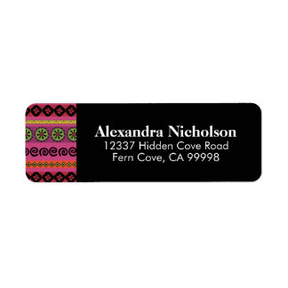 Pink Boho Aztec Pattern Hipster Tribal Return Address Label