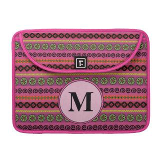 Pink Boho Aztec Pattern Monogram Sleeve For MacBooks