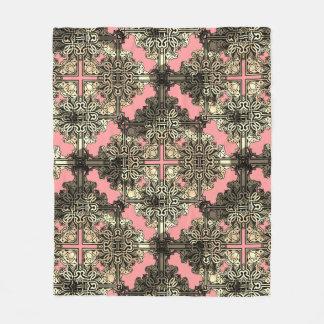 Pink Boho Floral Bohemian Celtic Knot Fleece Blanket