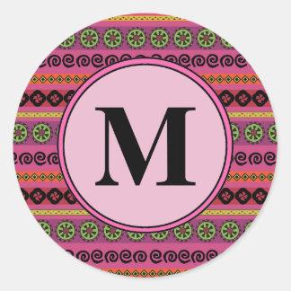 Pink Boho Modern Aztec Pattern Monogram Classic Round Sticker