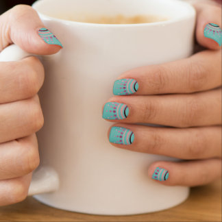 Pink Boho Sun Ray Burst on Light Teal Mint Nail Wraps
