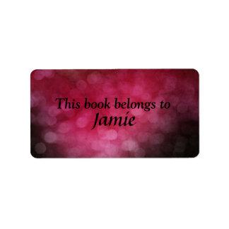 pink bokeh bookplate address label