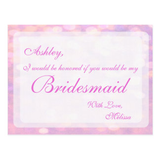 Pink Bokeh | Bridesmaid Postcard