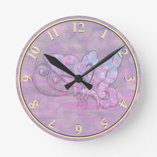 Pink Bokeh Butterfly Round Clock