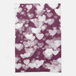 Pink Bokeh Hearts Towels