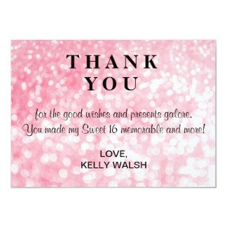 Pink Bokeh Lights Sweet 16 Thank You Note Card