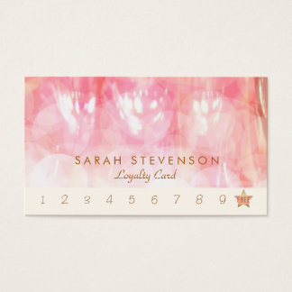 Pink Bokeh Spa and Salon Loyalty 10 Punch Card