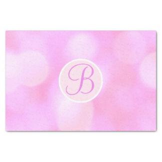 Pink Bokeh Sparkle Lights Monogram Letter Initial Tissue Paper