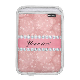 Pink Bokeh Sparkles and Diamonds Personalized iPad Mini Sleeves