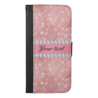 Pink Bokeh Sparkles and Diamonds Personalized iPhone 6/6s Plus Wallet Case