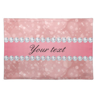 Pink Bokeh Sparkles and Diamonds Personalized Placemat