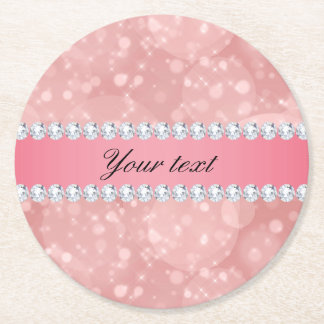 Pink Bokeh Sparkles and Diamonds Personalized Round Paper Coaster
