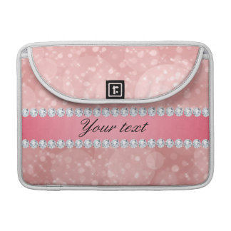 Pink Bokeh Sparkles and Diamonds Personalized Sleeve For MacBooks