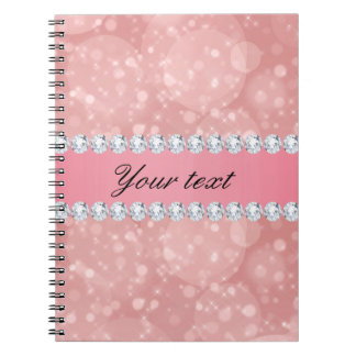 Pink Bokeh Sparkles and Diamonds Personalized Spiral Notebook