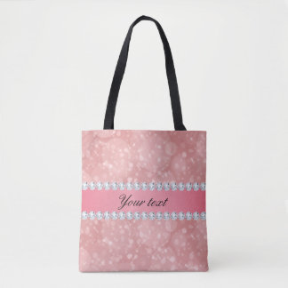 Pink Bokeh Sparkles and Diamonds Personalized Tote Bag