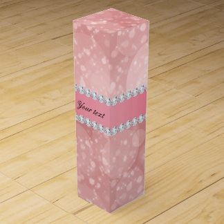 Pink Bokeh Sparkles and Diamonds Personalized Wine Gift Box
