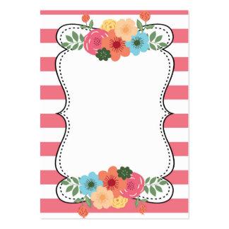 Pink Bold Stripes Modern Flowers Business Card