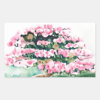 Pink Bonsai Rectangular Sticker