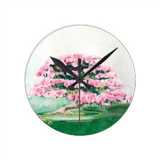 Pink Bonsai Round Clock