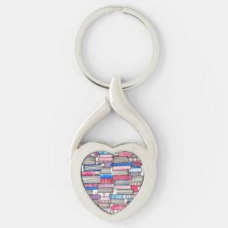 Pink Books Heart Keychain
