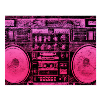 pink boombox postcard