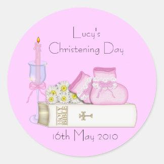 Pink Booties & Bible - Christening Sticker