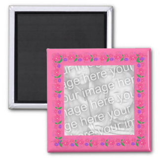 Pink Border  Flowers 012 Photo Magnet