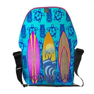 Pink Born To Surf Messenger Bag