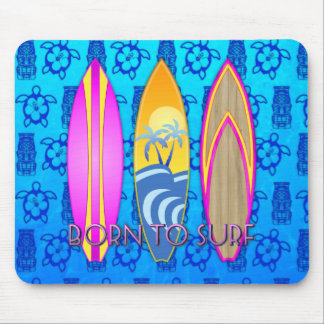 Pink Born To Surf Mousepad