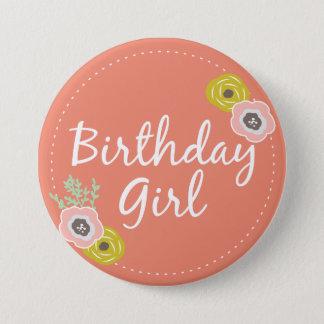 Pink Botanical Birthday Girl Button