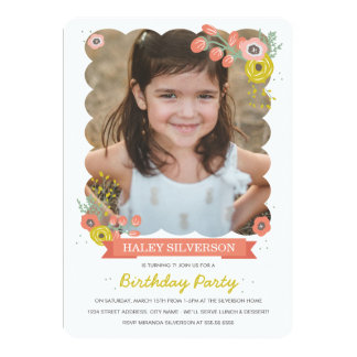 Pink Botanical Birthday Invite