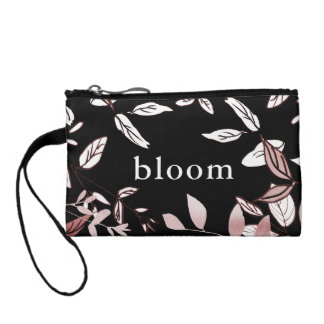 Pink Botanical on Black Bloom Clutch