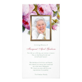 Pink Botanical Roses Funeral Photo Thank You Card