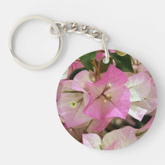 Pink Bougainvillea Double-Sided Round Acrylic Key Ring