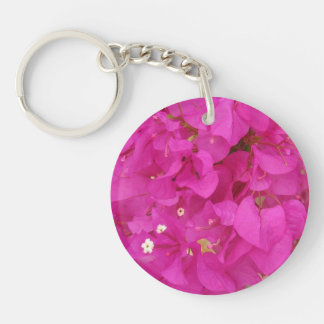 Pink Bougainvillea Flower (Greece) Double-Sided Round Acrylic Key Ring