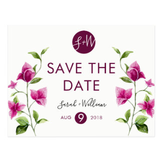 Pink Bougainvillea Flower Save The Date Postcard