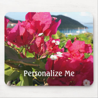 Pink Bougainvillea Island Harbor in Background Mouse Pad