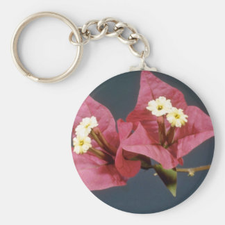 Pink Bouganvillea spectabilis flowers Basic Round Button Key Ring