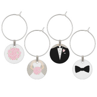 Pink bouquet bride groom & honours wedding charms wine glass charm