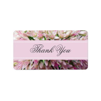 Pink Bouquet Thank You Label in Charcoal Address Label