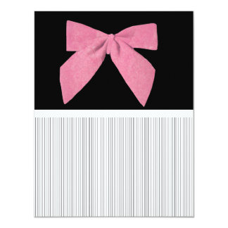 Pink Bow accent White Stripes on Black Card