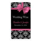 Pink Bow and Damask Wedding Mini Wine Labels