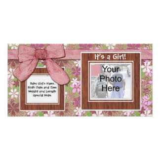 Pink Bow and Flower Custom Photo Card