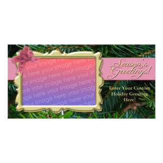 Pink Bow and Pine Christmas Photo Cards