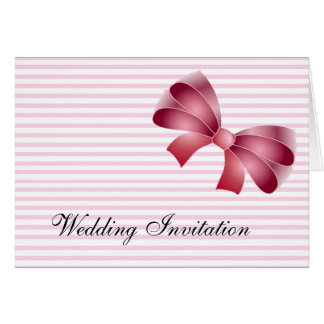 PINK BOW AND PINK STRIPES WEDDING INVITATION CARD